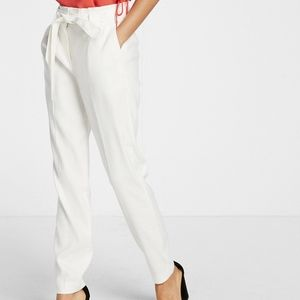 EXPRESS Linen Blend High Rise Belted Ankle Pant